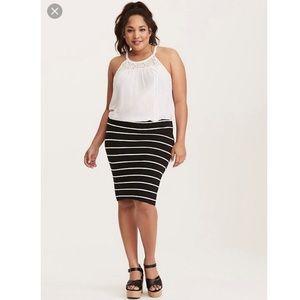 NWT Torrid Black and White Striped Pencil Skirt